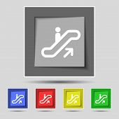 stock photo of escalator  - elevator Escalator Staircase icon sign on original five colored buttons - JPG