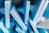 stock photo of mason  - Many new white and blue mason floats - JPG