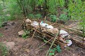 image of dam  - The preparation of small dam made from bamboo and rock and sand bag in the forest before rainy season at Karnchanaburi Thailand - JPG