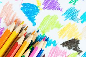 picture of colore  - Colorful wooden pencils on color background - JPG