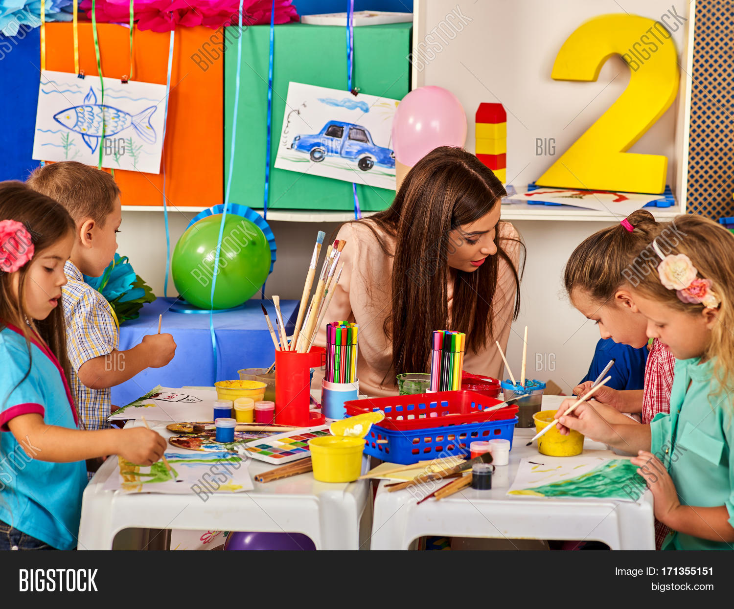 Children painting drawing kids club image photo bigstock for Teaching kids to paint on canvas