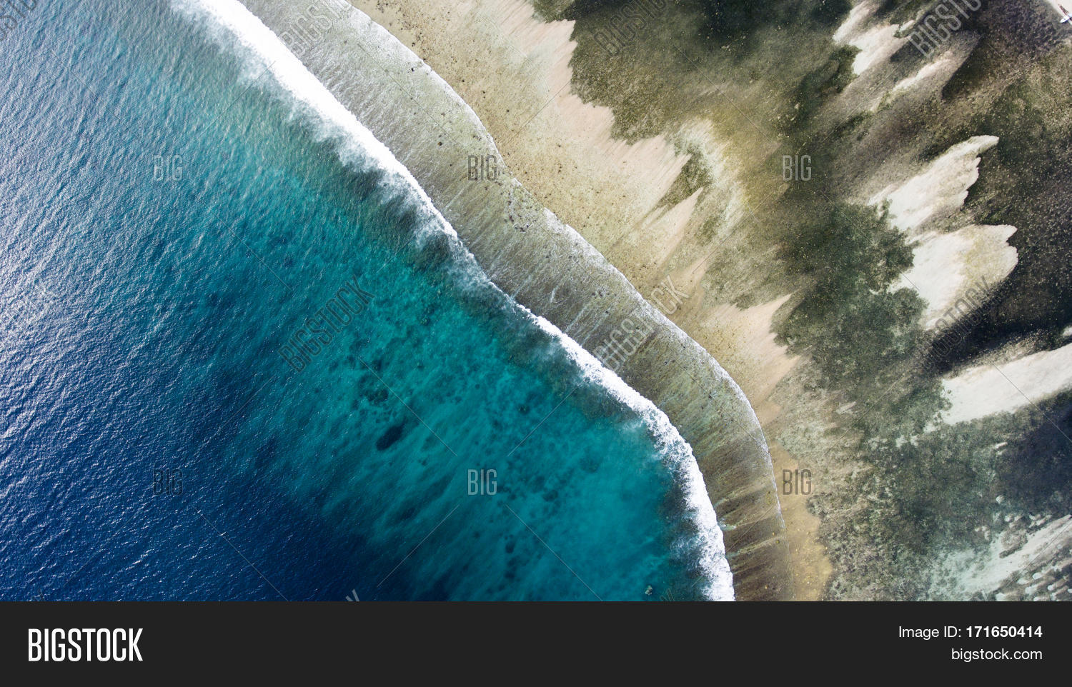 Top View Aerial Photo From Flying Drone Of A Wonderful Nature Landscape With Sandy Beach