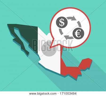 Long Shadow Mexico Map With A Dollar Euro Exchange Sign