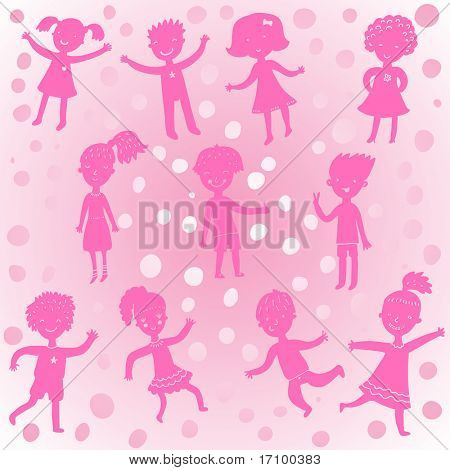 Funny cartoons kids in pink