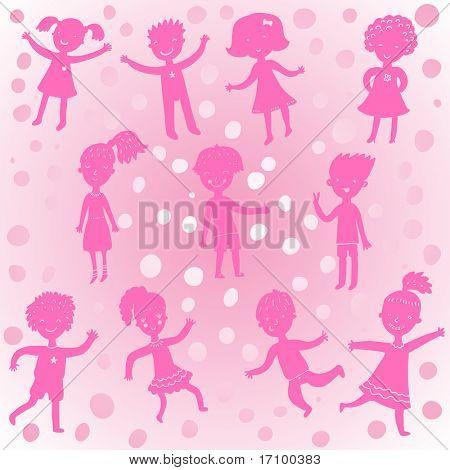 Funny cartoons kids in pink