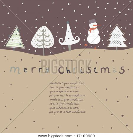 Retro christmas card. Cartoon vector illustration