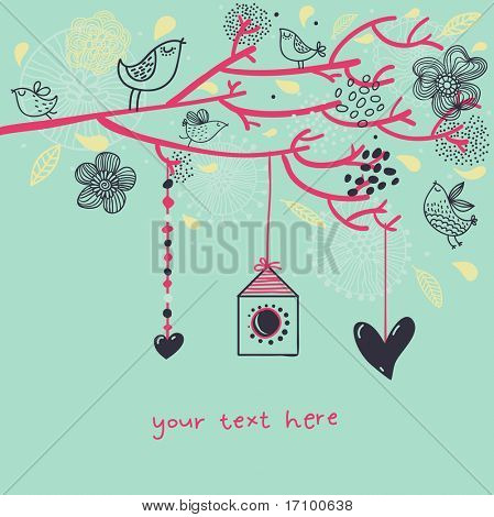Colorful romantic floral background. Cartoon vector illustration
