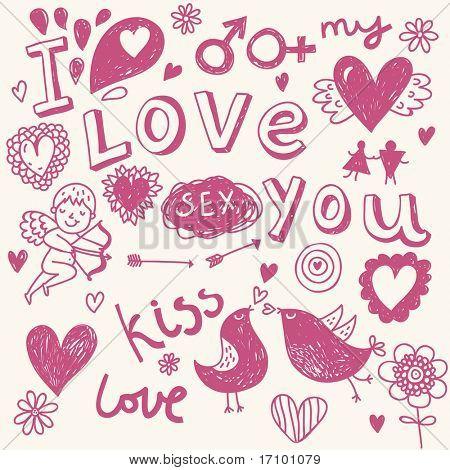 Hand-drawn cartoon romantic set in vector