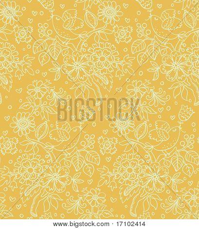 Retro floral padrão sem emenda em amarelo