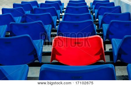 Blue And Red  Seat In Football Stadium