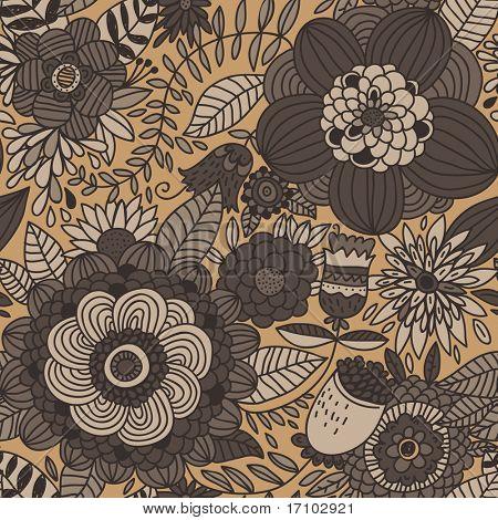 Padrão sem emenda floral retrô
