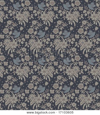 Retro styled floral seamless pattern with birds