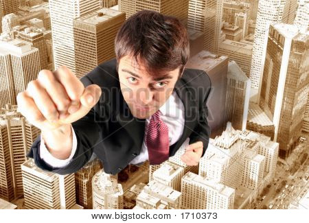 Power House Attractive Business Man Flying Into The Screen On An Isolated Background