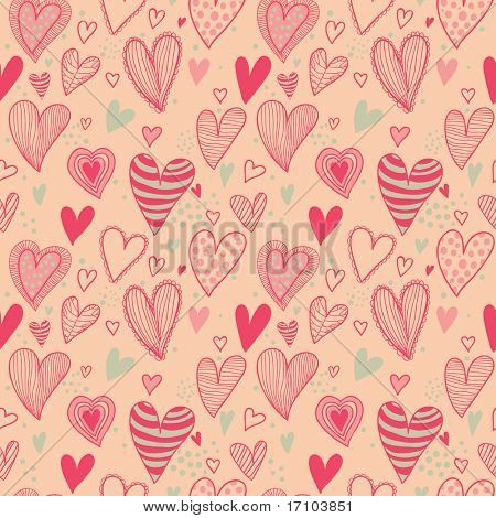 Romantic seamless pattern in pink and green