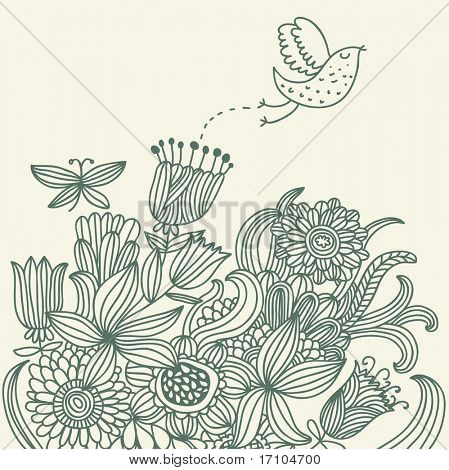 Summer floral background with cartoon bird