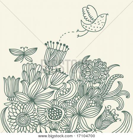 Summer floral background with cartoon bird