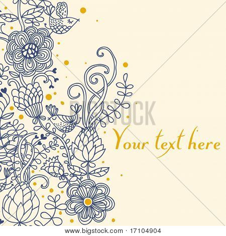 Light floral background with cartoon birds