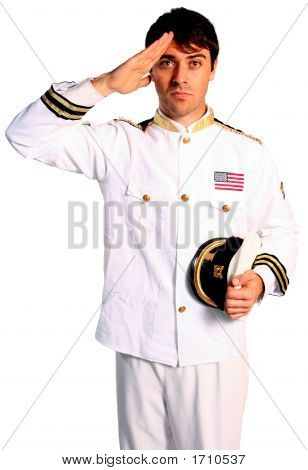 American Military Sailor From The Navy Saluting With Bravery For A War Conflict Fight