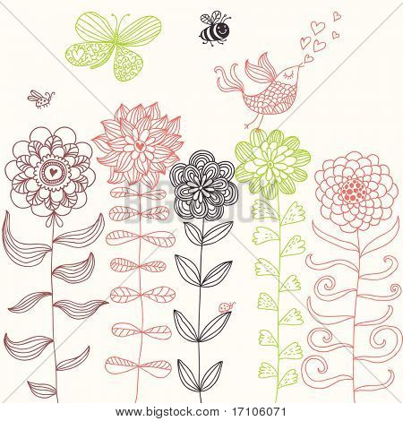 Summer cartoon set. Insects and bird in flowers