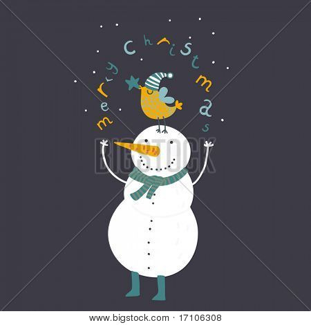Happy cartoon christmas snowman