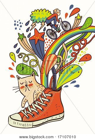 Cartoon composition with a shoe