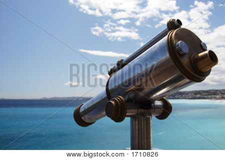 Old Telescope Overlooking The Med, Nice