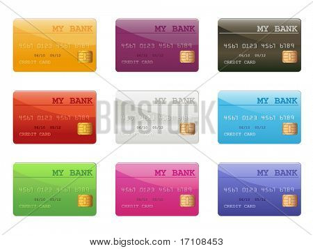 set of colored credit cards