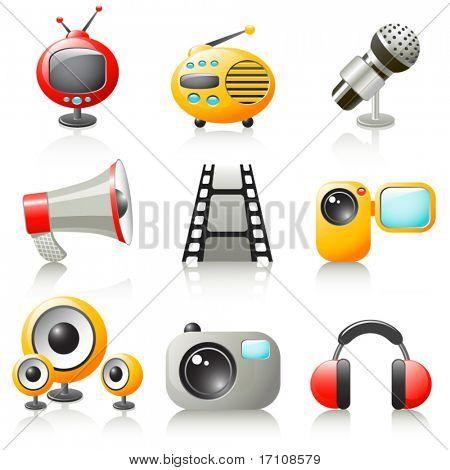 iconos de los medios de comunicación de dibujos animados