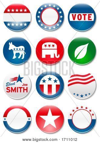 Botones de campaña electoral