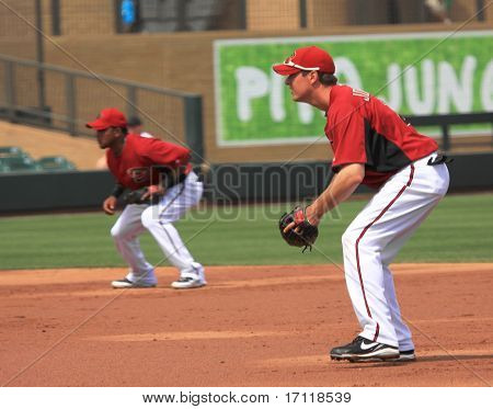 Arizona Diamondbacks Infielders Tony Abreu e Kelly Johnson