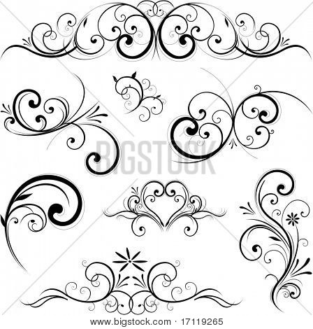 Swirling flourishes decorative floral elements