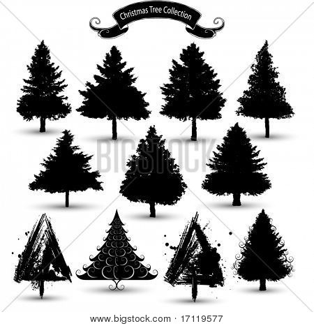 Christmas tree silhouettes