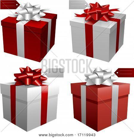 Cajas de regalo rojo vector