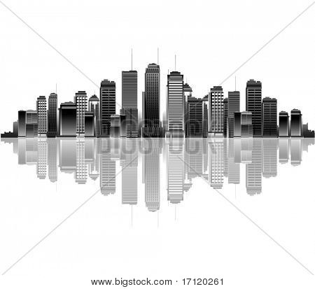 Black and white city reflection