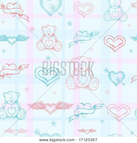 Seamless baby pattern with teddy bear