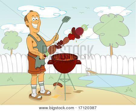 Barbecue cartoon cook