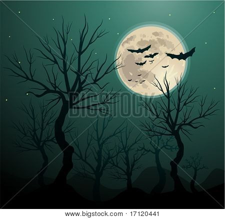 Creepy tree halloween background