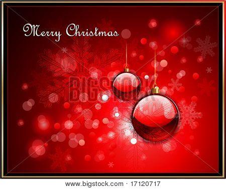 Fondo de Navidad rojo y luces defocused