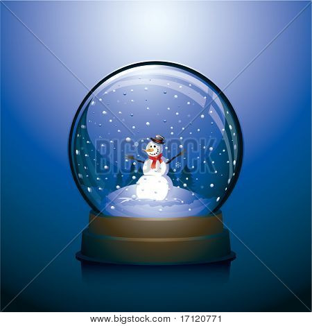 Vector snow globe with snowman within and blue background