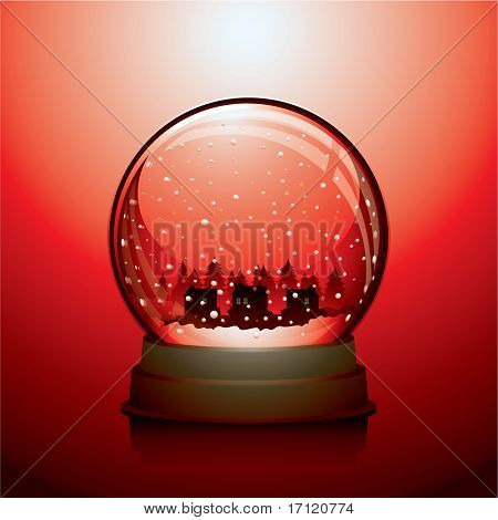 Red Christmas snow globe with a town within