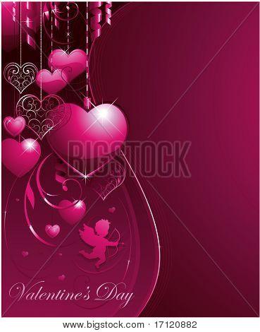 Fondo de San Valentín Rosa Vector con corazones decorativos y Cupido