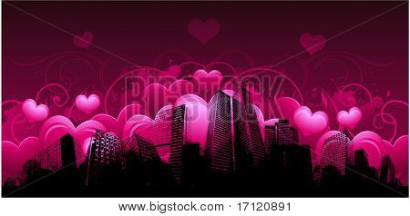 Valentine's day greeting card with urban design