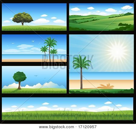 Different nature landscape illustration