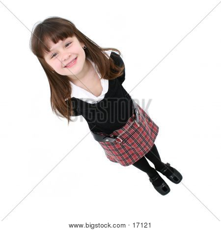 Girl Standing Isolated On White