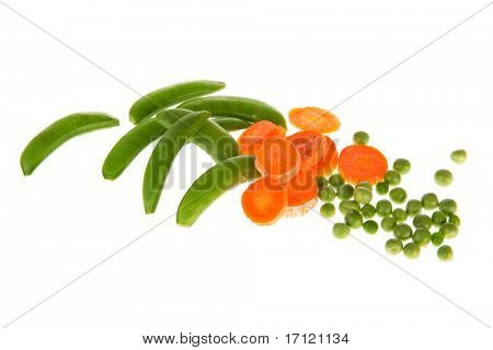 Fresh vegetables as sugar snaps green peas and slices carrots