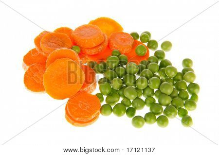 Fresh vegetables as carrots and green peas