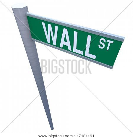 Wall Street Sign isolated on white