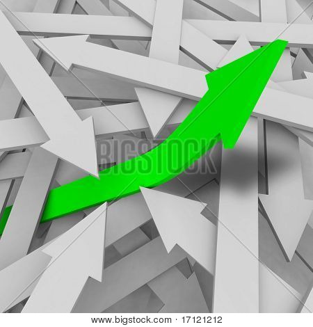 One green arrow rises from a sea of gray arrows, symbolizing unique growth