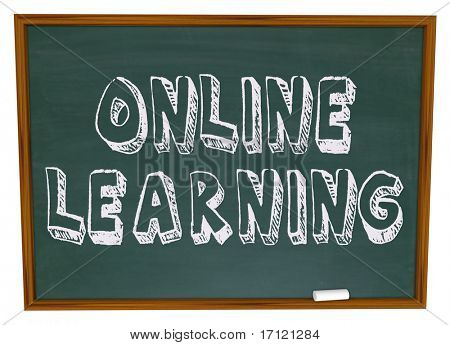 The words Online Learning on a chalkboard