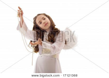 Pretty Little Angel With Pearl Necklace Over White Background
